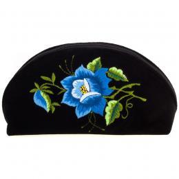 Haftowana duża folk kosmetyczka łowicka - róża niebieska