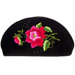 Haftowana duża folk kosmetyczka łowicka - róża różowa