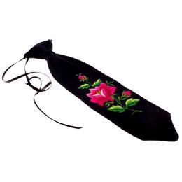Haftowany krawacik dziecięcy z różową różyczką - rękodzieło ludowe