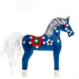 Tradycyjna zabawka ludowa - ręcznie rzeźbiony konik w ludowe wzory - mały - niebieski