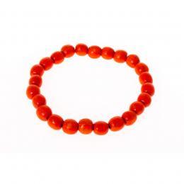 Bransoletka ludowa - pomarańczowe małe koraliki