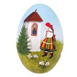 Pisanka łowicka - gęsie jajo - łowiczanka przy kapliczce