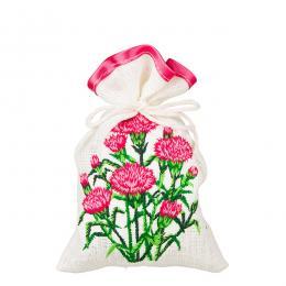 Ozdobny woreczek zapachowy z haftem ludowym - goździki różowe
