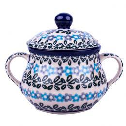 Cukiernica z uszami - ceramika Bolesławiec - kwiecista rozeta