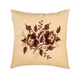 Kremowa poduszka z haftem łowickim 35x35 cm - róże brązowe