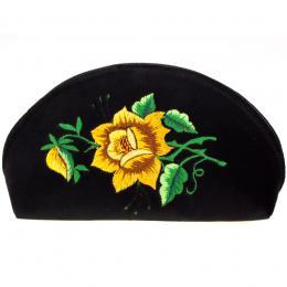 Haftowana duża folk kosmetyczka łowicka - róża żółta