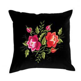 Czarna poduszka z haftem łowickim 35x35 cm - róża czerwona i różowa