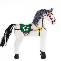 Tradycyjna zabawka ludowa - ręcznie rzeźbiony konik w ludowe wzory - średni - biały