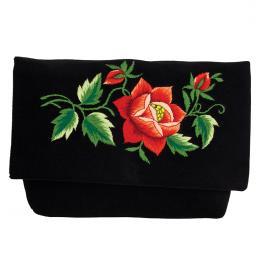 Czarna kopertówka na ludowo - haft folk - czerwona róża