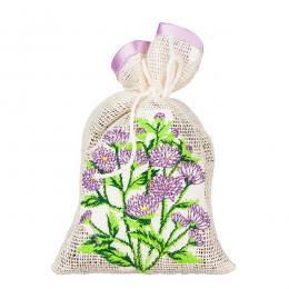 Ozdobny woreczek zapachowy z haftem ludowym - astry