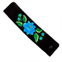 Haftowana bransoletka z niebieską różą