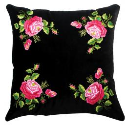 Czarna poduszka z haftem łowickim 45x45 cm - różowe róże