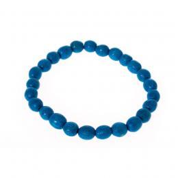 Bransoletka ludowa - niebieskie małe koraliki