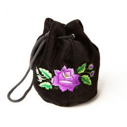 Haftowana torebka woreczek z fioletową różą