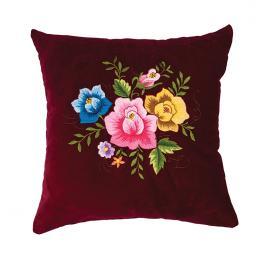 Bordowa poduszka z haftem łowickim 35x35 cm - róże kolorowe
