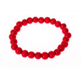 Bransoletki ludowe - czerwone małe koraliki
