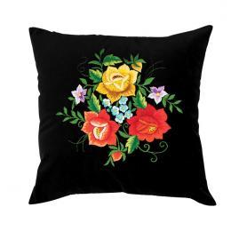 Czarna poduszka z haftem łowickim 35x35 cm - róże kolorowe w bukiecie