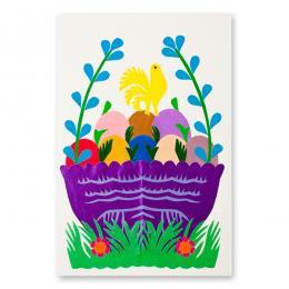 Ręcznie robiona kartka świąteczna - Wielkanoc - wycinanka z pisankami w fioletowym koszyczku