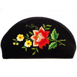 Haftowana duża folk kosmetyczka łowicka - róża czerwona z żółtymi kwiatuszkami