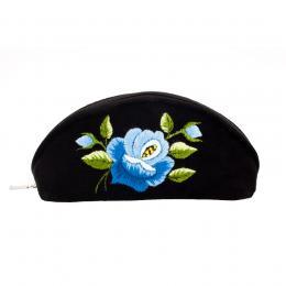 Haftowane etui na okulary - róża niebieska