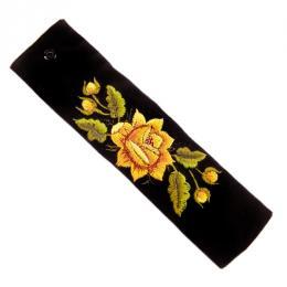 Haftowana bransoletka z żółtą różą