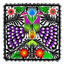 Rękodzieło ludowe - wycinanka ludowa z kolorowym wzorem łowickich pawi z fioletowymi ogonami