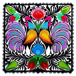 Wycinanka z wzorem dwóch kogutów z trójkolorowymi ogonami - motyw ludowy