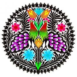 Wycinanka z wzorem ludowym - pawie z fioletowymi ogonami