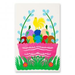 Ręcznie robiona kartka świąteczna - Wielkanoc - wycinanka z pisankami w różowym koszyczku