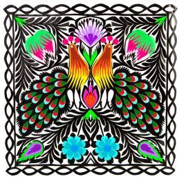 Wycinanka z motywem dwóch pawi - tradycyjne motywy ludowe