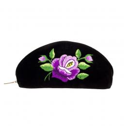 Haftowane etui na okulary - róża fioletowa