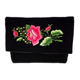 Haft łowicki - czarna kopertówka z ludową różą folk
