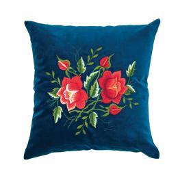 Niebieska poduszka z haftem łowickim 35x35 cm - róże czerwone