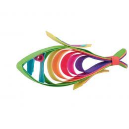 Kolorowa drewniana ozdoba choinkowa - rybka