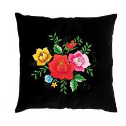 Czarna poduszka z haftem łowickim 35x35 cm - róże kolorowe