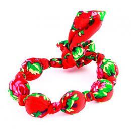 Ludowa bransoletka z korali - czerwona