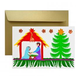 Ręcznie robiona kartka świąteczna - Boże Narodzenie - wycinanka SZOPKA