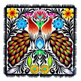 Rękodzieło ludowe - wycinanka ludowa z wzorem kolorowych pawi