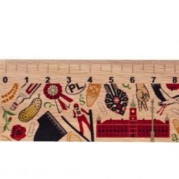Linijka drewniana- 20 cm - POLSKA- symbole