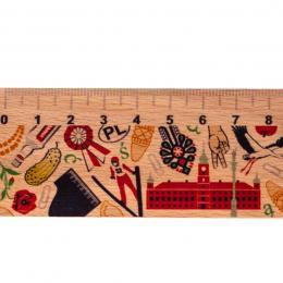 Linijka drewniana - 20 cm - POLSKA - symbole