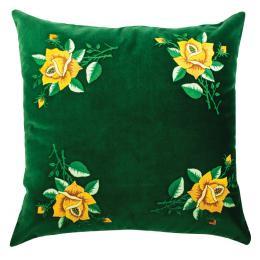 Zielona poduszka z haftem łowickim 45x45 cm - żółte róże