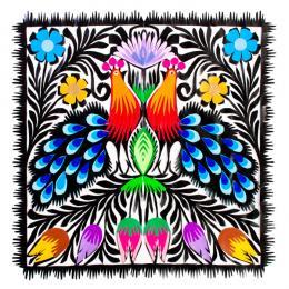 Piękna kwadratowa wycinanka ludowa z wzorem kolorowych pawi łowickich