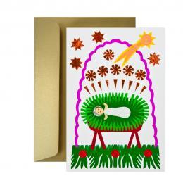 Ręcznie robiona kartka świąteczna - Boże Narodzenie - wycinanka DZIECIĄTKO W ŻŁOBIE