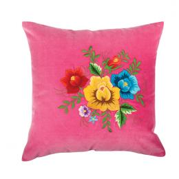 Różowa poduszka z haftem łowickim 35x35 cm - róże kolorowe