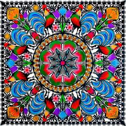 Duża wycinanka ludowa z kolorowym wzorem kwiatowym - folklor łowicki