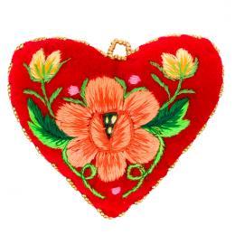 Serduszko na igły z haftowanym pomarańczowym kwiatkiem