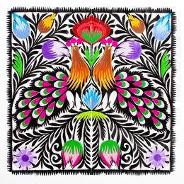 Wycinanka z dwoma kolorowymi pawiami łowickimi - wzory ludowe