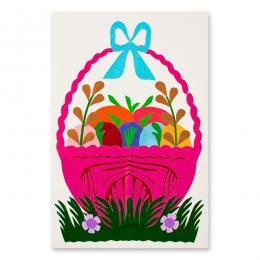 Ręcznie robiona kartka świąteczna - Wielkanoc - wycinanka z koszyczkiem różowym