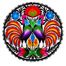 Okrągła wycinanka z wzorem dwóch kolorowych kogutów