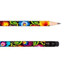 Ołówek z gumką FOLK - łowicki czarny